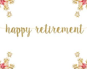 Happy Retirement Glitter Banner Congratulations Gold Letter banner Engagement Banner Retirement weddings bridal showers bachelorette parties
