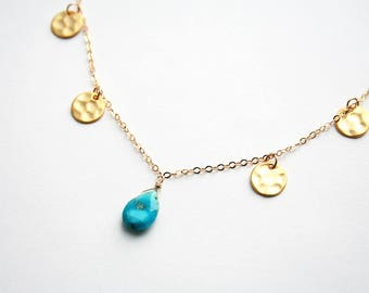 Turquoise Necklace, Boho Necklace, Gold Necklace, Layering Necklace, Summer Jewelry