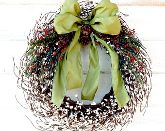 New Years Wreath-Winter Wreath-Winter Home Decor-Holiday Decor-SCENTED Wreath-Custom Made Gifts-Holiday Home Decor-Christmas Door Wreaths