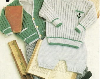 baby / childrens ribbed sweater cardigan shorts knitting pattern boys jumper jacket pants18-26inch DK baby knitting patterns pdf download