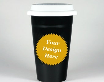 CUSTOM Black Travel Mug - insulated ceramic