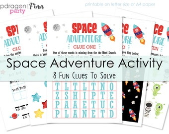 Space Birthday Party Game - Space Adventure Clue Solving Activity - Space Activity Solve the Clues - Instant Download