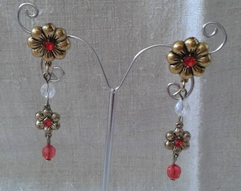"""bronze flower duo"" earrings"