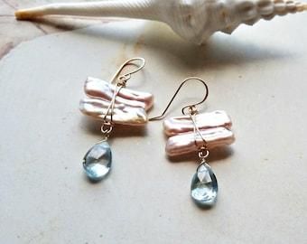 Topaz Pearl Earrings, Pink Biwa Pearl Drops, Sky Blue Topaz Dangle, Stick Pearl Earrings:  Ready Made