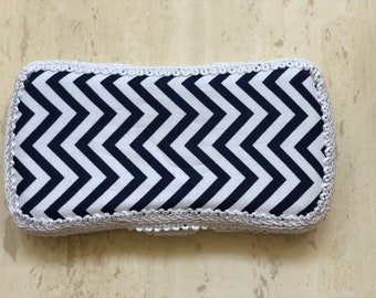 Travel Wipe Case, Blue and White Chevron, Diaper Bag, Baby Wipes, Baby Layette, Baby Shower Gifts, Baby Wipe Holder, Wipes, 100% Cotton