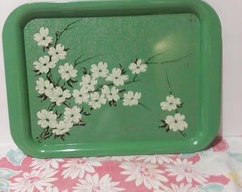 Mid Century Metal Tray - Jadeite Green with Apple Blossoms