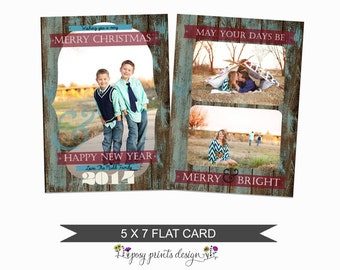 Rustic Christmas Card Template - 5x7 Photo Card - Photoshop Template - INSTANT DOWNLOAD or Printable - CC08V