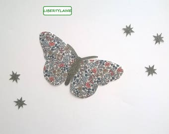 Applied fusible fabric liberty Emilia's blue butterfly and olive green glitter flex