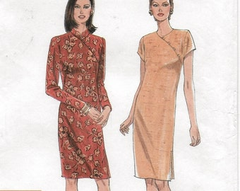 A Long/Short Sleeve, Straight, Back Tie, Cheongsam Closure Dress Sewing Pattern for Women: Uncut - Sizes 10-12-14-16-18-20 ~ Simplicity 7791