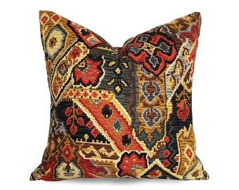 "Black Sofa Pillows, Black Cushion, Southwestern Pillow, Lodge, Log Cabin, Decorative Pillow, Cushion Cover, Coral Terra Cotta Rust Grey, 18"""