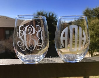 Etched Wine Glasses/Monogram Wine Glasses/Etched Wine Glass/Custom Wine Glass/Wine Glass/Wedding Gift/Custom Wine Class/Personalized Wine