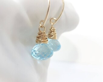 25% off BLUE SKIES Topaz & Gold Filled Wire Wrapped Earrings, December birthstone, natural rare gemstone