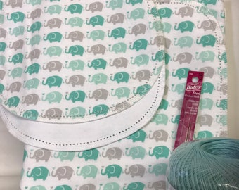 Green Elephants flannel baby blanket