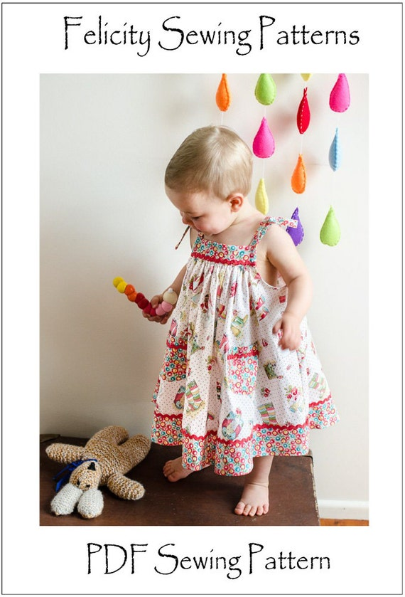 Baby dress sewing pattern, girls dress pattern sizes 6-9 months to 8 ...