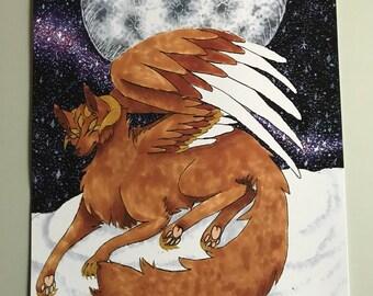 Wolf Fox Kitsune God Spirit Animal Art Print