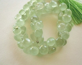 Green Prehnite Gemstone. Faceted Onion Briolette, 7.5mm. Semi Precious Gemstone.  Pairs or NonMatching 1 to 5 Briolrttes  (1PRE)