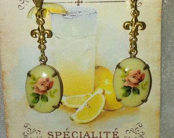 Art Deco Fleur De Lis Earrings with Floral Drops