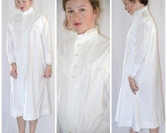 Antique Victorian White Cotton Calf Length Robe With Pin Tucks and Crocheted Lace Trim Sz M