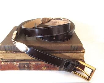 Vintage leather belt Vintage Eddie Bauer belt Thin leather belt Made in USA Dressy leather belt Size 34 leather belt Brass accents Womens