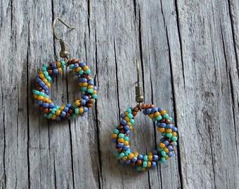 Beaded Statement Earrings - Bead Weaving Jewelry - Beaded Round Dangles - BOHO - Southwestern