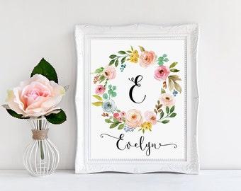 Floral Monogram, E, Personalized Monogram, Custom Letter Print, Nursery Decor, Initial Print, Evelyn Decor, Baby Name Wall Art, Nursery Art