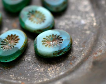 Sea Breeze - Premium Czech Glass Beads, Opaque Turquoise, Emerald Green, Picasso Finish, Carved Ovals 14x10mm - Pc 6