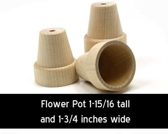 Unfinished Wood Flower Pot - 1-15/16 inches tall and 1-3/4 inches wide wooden piece (WW-FP2000)