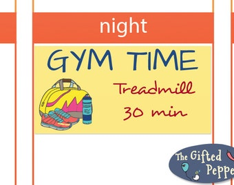 Gym time stickers [Printable]. Exercise, fitness, workout, printable calendar stickers. For Erin Condren planner. Stickers
