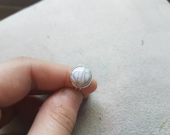 ring adjustable effect white marble