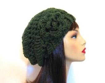 Green Slouchy Hat with Flower Forest Green Knit Beanie Green Crochet Beanie Crochet Women's hat Slouchy Green Beret Green slouch Tam