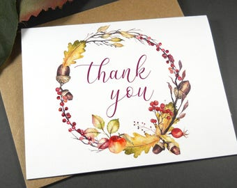 Set of 8, Fall THANK YOU CARDS, Thank You Cards Set, Thank You Notes, Fall Thank You, Fall Thank You Wedding, Autumn Thank You Cards