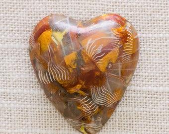 Fall Colors Heart Brooch Vintage Bronze Brown Orange Natural Tones Plastic Broach Vtg Pin 7JJ 2