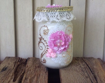 Pink and Gold Shabby Pint Size Mason Jar, Pink Flowers, White Paper Doily, Scroll Gems,Shimmer Gloss, Ivory Lace Trim, Gems, Beaded Trim