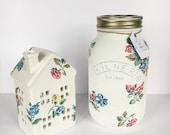1L Highgate Rose Floral Kilner Jar and Tea light House - Matching Set