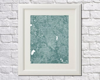 Dallas Street Map Print Map of Dallas Texas City Street Map Poster City Art 7077P