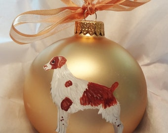 Brittany (Spaniel) Dog Hand Painted Christmas Ornament - Can Be Personalized with Name