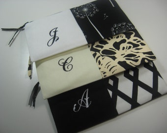 Set of 3 - Personalized  Clutches - Bridesmaid Clutches - Monogrammed  Pouches - Your Choice - Made To Order