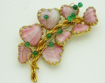 HOBE Pink Mayorka Petals Brooch Pin JULIO MARSELLA Glass Rhinestone Cabochon
