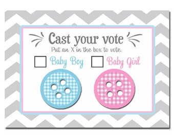 Gender Reveal Voting Cards Printable - Cute as a Button Collection