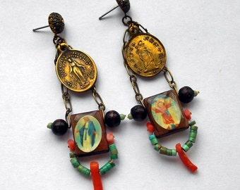 Santos Vintage Holy Medal Assemblage Earrings