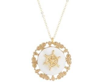 Vintage Helm & Filigree Mother-of-Pearl Pendant Necklace