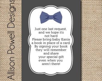 Bring a Book - Match Any Baby Shower Invitation - Little Man Invitation Insert- Print Your Own or Printed
