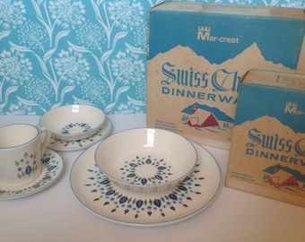 NOS 24 piece set Stetson Marcrest Swiss Alpine dinnerware, Swiss Chalet, green and blue leaves, mid century dishes, retro dishes