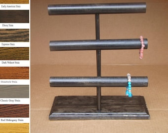 Large Wooden Bracelet Stand, Wooden Jewelry Stand, 3 Bar Stand, Wooden Bracelet Holder, Craft Show Display