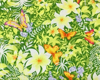 Tropical Butterfly Fabric 2 print Designs Cotton Yardage