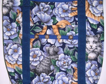 Cat Tote Bag Blue with Orange and Gray Tabby Cats