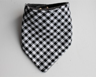 Black and White Gingham Bandana Bib - Bibdana - Baby Bandana Bib - Drool Bib - Adjustable Snaps