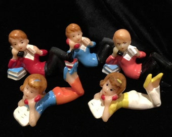 Vintage Cake Toppers - Teenagers on Telephones - Set of 5 - Darling Mid-Century Party Kitsch