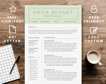 Resume template instant download for word   Professional CV design modern creative   A4 Letter   Curriculum Vitae Cover Letter 2 Page
