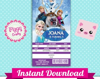 Frozen 001 Invitation Ticket Editable Text in PowerPoint English and Spanish
